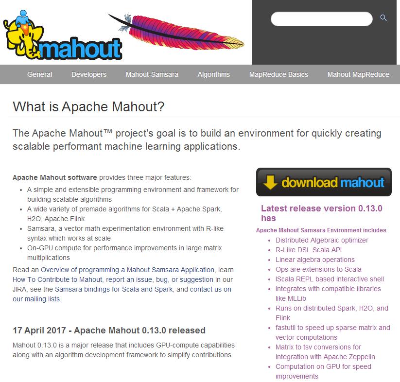 Mahout-开源机器学习框架